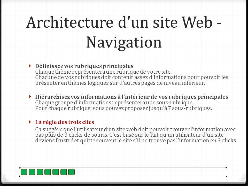 Architecture dun site Web - Navigation Définissez vos rubriques principales Chaque thème représentera une rubrique de votre site. Chacune de vos rubri