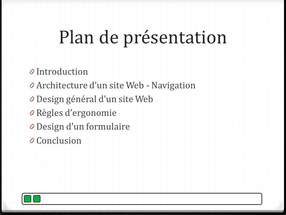 Plan de présentation 0 Introduction 0 Architecture dun site Web - Navigation 0 Design général dun site Web 0 Règles dergonomie 0 Design dun formulaire