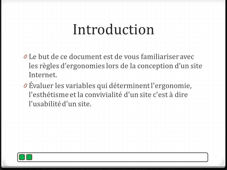 Introduction 0 Le but de ce document est de vous familiariser avec les règles dergonomies lors de la conception dun site Internet. 0 Évaluer les varia