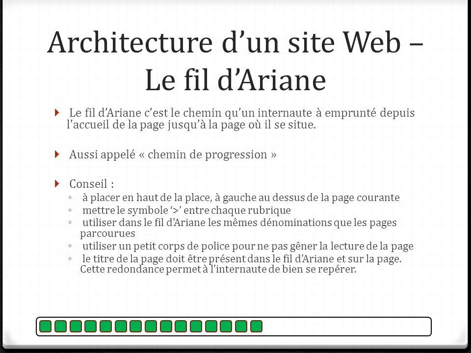 Le fil dAriane cest le chemin quun internaute à emprunté depuis laccueil de la page jusquà la page où il se situe. Aussi appelé « chemin de progressio