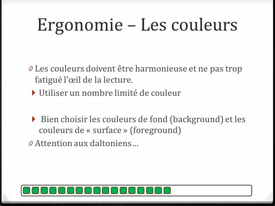 Ergonomie – Les couleurs 0 Les couleurs doivent être harmonieuse et ne pas trop fatigué lœil de la lecture. Utiliser un nombre limité de couleur Bien
