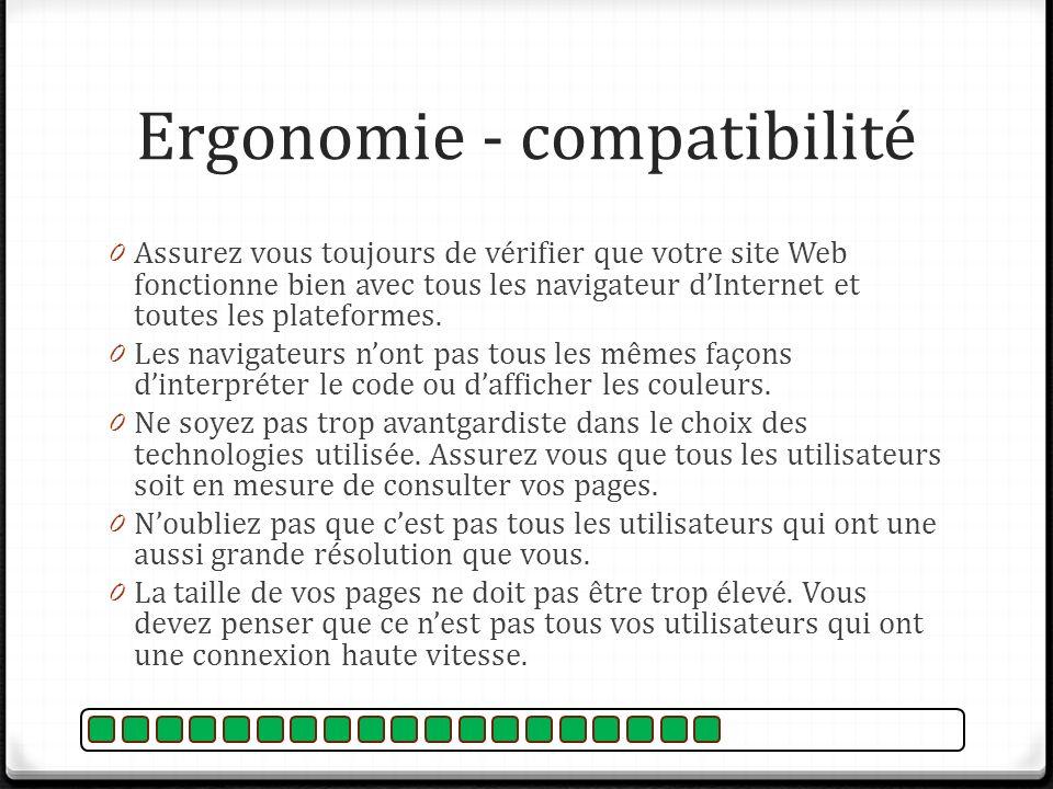 Ergonomie - compatibilité 0 Assurez vous toujours de vérifier que votre site Web fonctionne bien avec tous les navigateur dInternet et toutes les plat