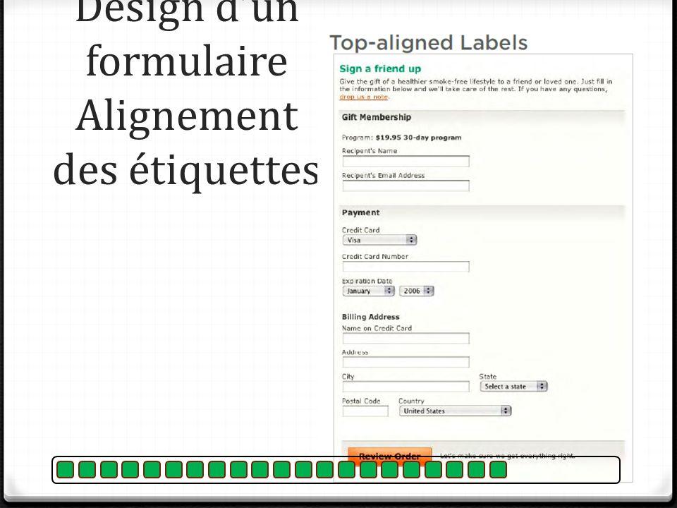 Design dun formulaire Alignement des étiquettes