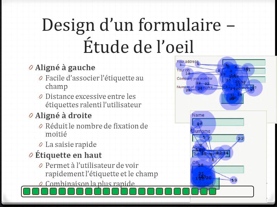 Design dun formulaire – Étude de loeil 0 Aligné à gauche 0 Facile dassocier létiquette au champ 0 Distance excessive entre les étiquettes ralenti luti