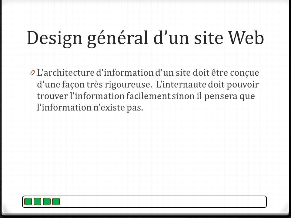 0 L'architecture d'information d'un site doit être conçue d'une façon très rigoureuse. Linternaute doit pouvoir trouver linformation facilement sinon
