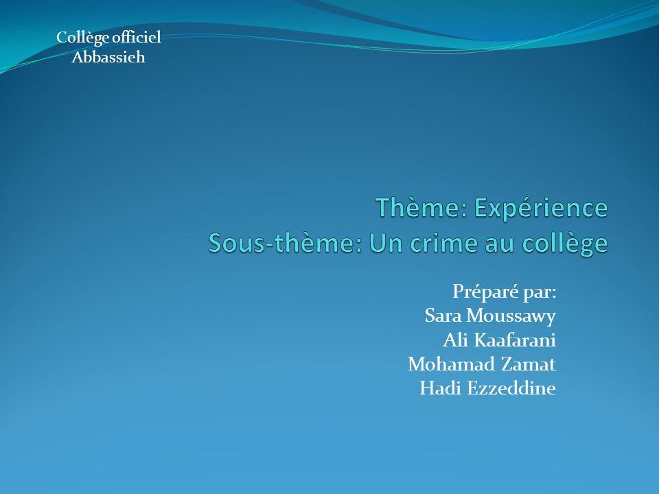 Préparé par: Sara Moussawy Ali Kaafarani Mohamad Zamat Hadi Ezzeddine Collège officiel Abbassieh