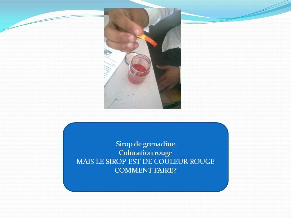 Sirop de grenadine Coloration rouge MAIS LE SIROP EST DE COULEUR ROUGE COMMENT FAIRE?