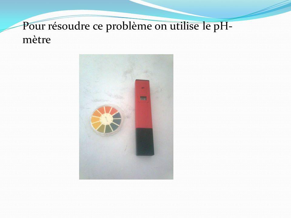 Pour résoudre ce problème on utilise le pH- mètre