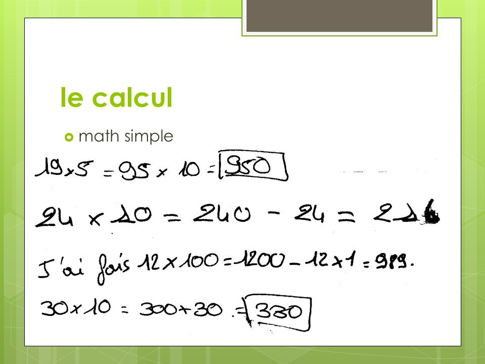 le calcul math simple