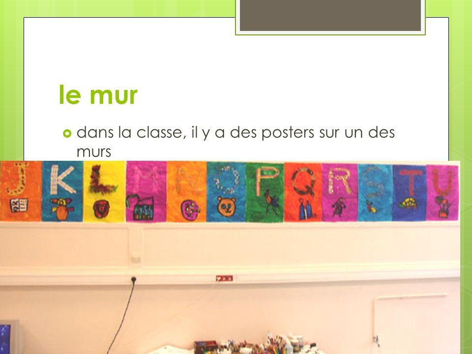 le mur dans la classe, il y a des posters sur un des murs