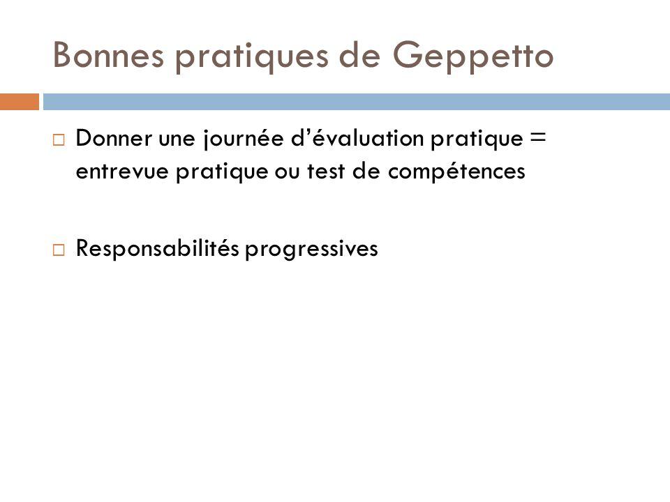 Bonnes pratiques de Geppetto Donner une journée dévaluation pratique = entrevue pratique ou test de compétences Responsabilités progressives