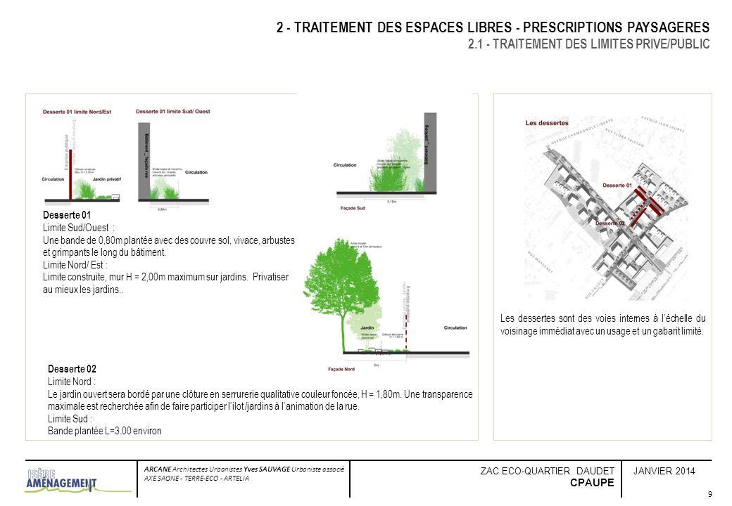 JANVIER 2014 ARCANE Architectes Urbanistes Yves SAUVAGE Urbaniste associé AXE SAONE - TERRE-ECO - ARTELIA ZAC ECO-QUARTIER DAUDET CPAUPE 9 2 - TRAITEM