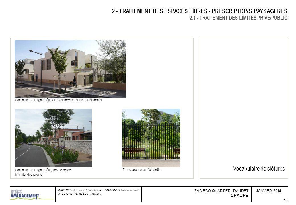 JANVIER 2014 ARCANE Architectes Urbanistes Yves SAUVAGE Urbaniste associé AXE SAONE - TERRE-ECO - ARTELIA ZAC ECO-QUARTIER DAUDET CPAUPE 10 2 - TRAITE