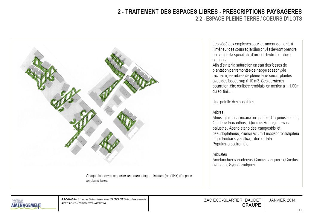 JANVIER 2014 ARCANE Architectes Urbanistes Yves SAUVAGE Urbaniste associé AXE SAONE - TERRE-ECO - ARTELIA ZAC ECO-QUARTIER DAUDET CPAUPE 2 - TRAITEMEN