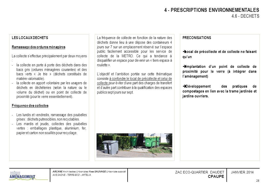 JANVIER 2014 ARCANE Architectes Urbanistes Yves SAUVAGE Urbaniste associé AXE SAONE - TERRE-ECO - ARTELIA ZAC ECO-QUARTIER DAUDET CPAUPE 4 - PRESCRIPT