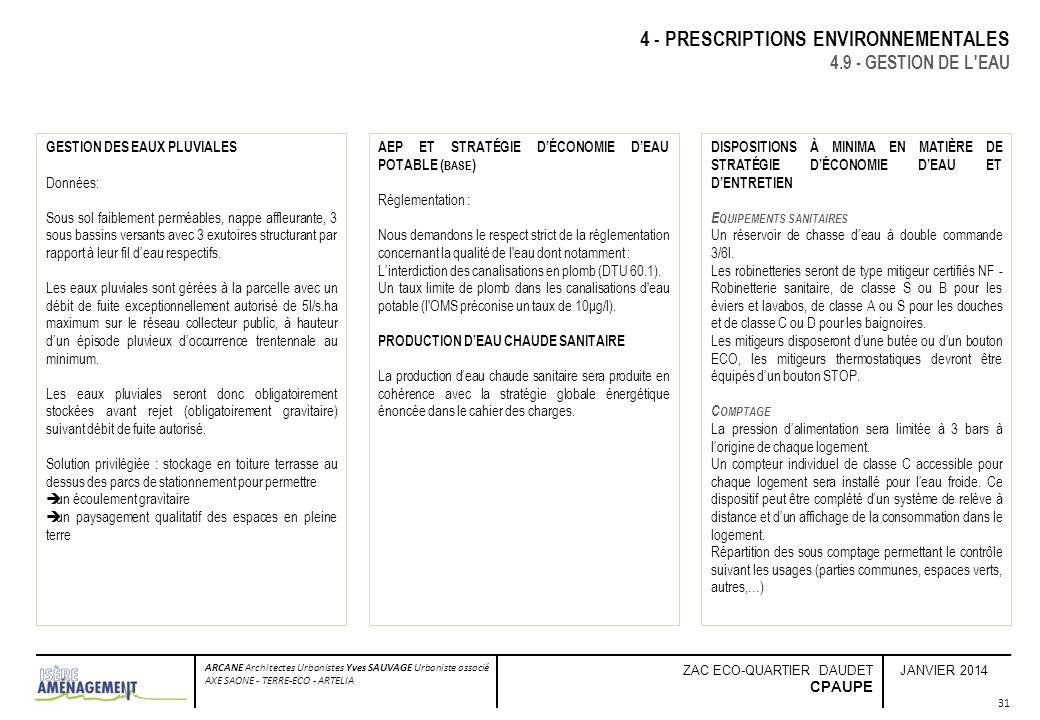 JANVIER 2014 ARCANE Architectes Urbanistes Yves SAUVAGE Urbaniste associé AXE SAONE - TERRE-ECO - ARTELIA ZAC ECO-QUARTIER DAUDET CPAUPE 31 4 - PRESCR
