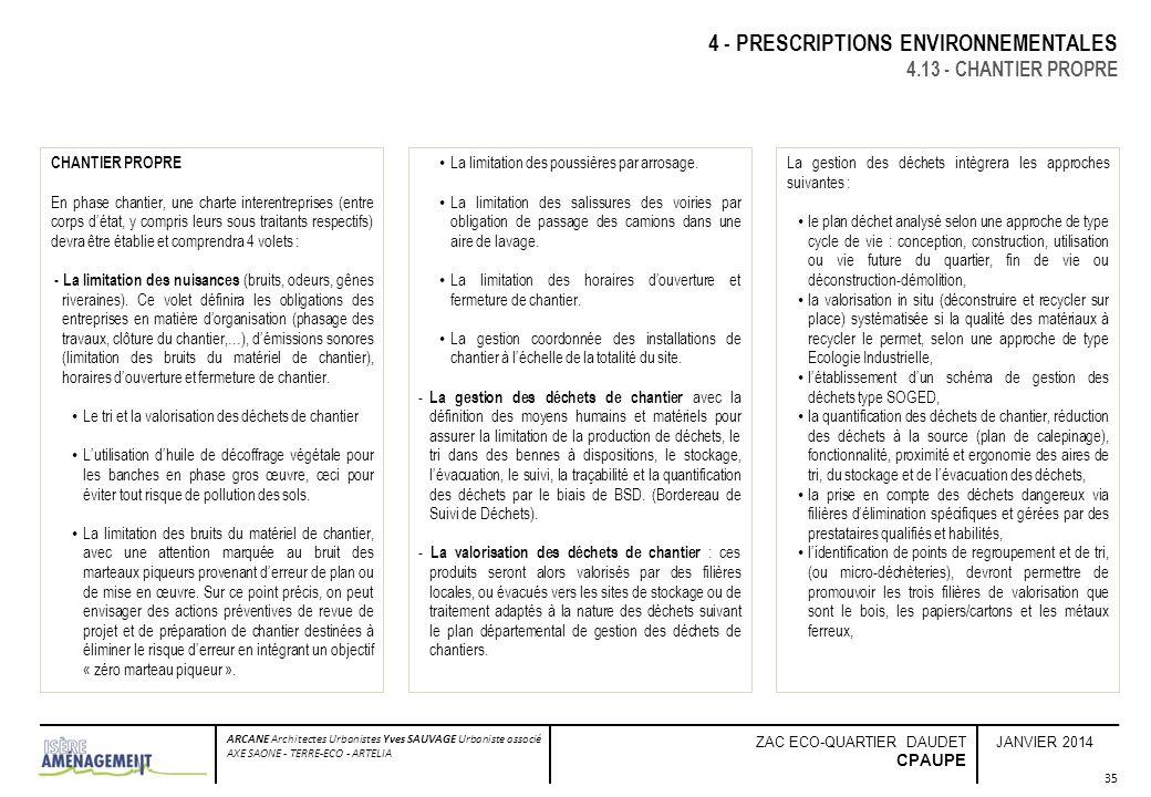 JANVIER 2014 ARCANE Architectes Urbanistes Yves SAUVAGE Urbaniste associé AXE SAONE - TERRE-ECO - ARTELIA ZAC ECO-QUARTIER DAUDET CPAUPE 35 4 - PRESCR