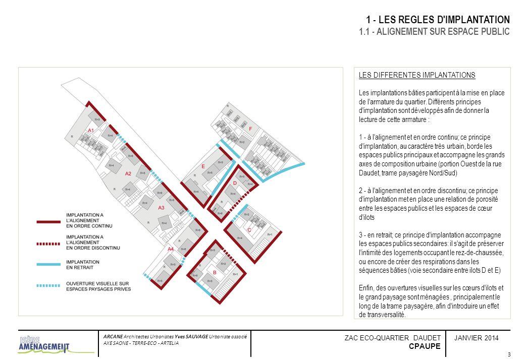 JANVIER 2014 ARCANE Architectes Urbanistes Yves SAUVAGE Urbaniste associé AXE SAONE - TERRE-ECO - ARTELIA ZAC ECO-QUARTIER DAUDET CPAUPE 4 1 - LES REGLES D IMPLANTATION 1.2 - EPANNELAGE Lintégration des tissus résidentiels existants en périphérie du projet seffectue à laide dun travail de couture, et dune recherche de « vis-à-vis acceptables » en termes de gabarits et de prospects.