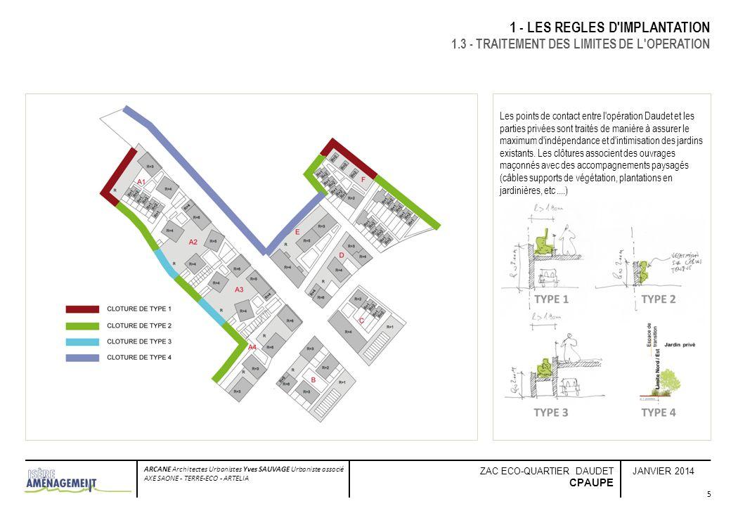 JANVIER 2014 ARCANE Architectes Urbanistes Yves SAUVAGE Urbaniste associé AXE SAONE - TERRE-ECO - ARTELIA ZAC ECO-QUARTIER DAUDET CPAUPE 6 2 - TRAITEMENT DES ESPACES LIBRES - PRESCRIPTIONS PAYSAGERES 2.1 - TRAITEMENT DES LIMITES PRIVE/PUBLIC Les espaces publics et privés construisent conjointement le paysage urbain.