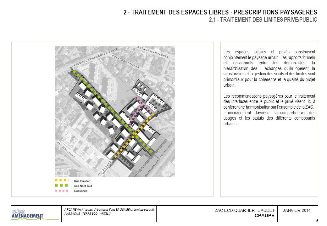 JANVIER 2014 ARCANE Architectes Urbanistes Yves SAUVAGE Urbaniste associé AXE SAONE - TERRE-ECO - ARTELIA ZAC ECO-QUARTIER DAUDET CPAUPE 7 2 - TRAITEMENT DES ESPACES LIBRES - PRESCRIPTIONS PAYSAGERES 2.1 - TRAITEMENT DES LIMITES PRIVE/PUBLIC La rue Daudet est la structure viaire dirrigation principale du quartier, elle est support de centralité et de dynamisme dans la continuité dune structure majeure de la ville, la rue Wallon.