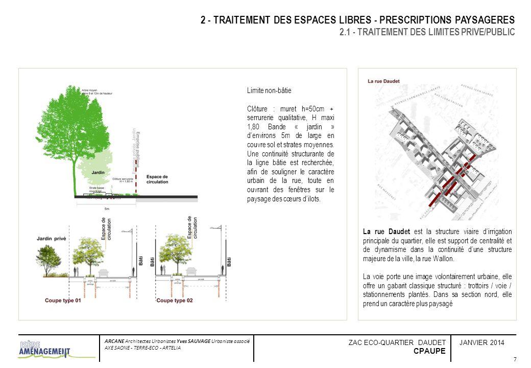 JANVIER 2014 ARCANE Architectes Urbanistes Yves SAUVAGE Urbaniste associé AXE SAONE - TERRE-ECO - ARTELIA ZAC ECO-QUARTIER DAUDET CPAUPE 7 2 - TRAITEM