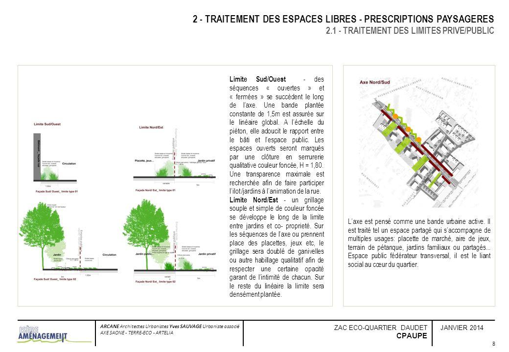 JANVIER 2014 ARCANE Architectes Urbanistes Yves SAUVAGE Urbaniste associé AXE SAONE - TERRE-ECO - ARTELIA ZAC ECO-QUARTIER DAUDET CPAUPE 3 - PRESCRIPTIONS ARCHITECTURALES 3.6 - LE STATIONNEMENT Les contraintes géotechniques interdisant lenterrement des garages, le projet urbain a créé les conditions permettant den faire des éléments architecturaux à part entière: effet de socle, terrasses collectives ou individuelles, jardins surélevés, support dédification pour des logements individuels ou des serres, épaulement de chemins piétons ou de limites paysagées, etc… Pour chaque projet, lintégration architecturale des silos de stationnement sera un impératif.