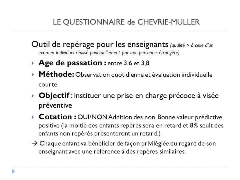 LE QUESTIONNAIRE de CHEVRIE-MULLER Outil de repérage pour les enseignants (qualité > à celle dun examen individuel réalisé ponctuellement par une pers