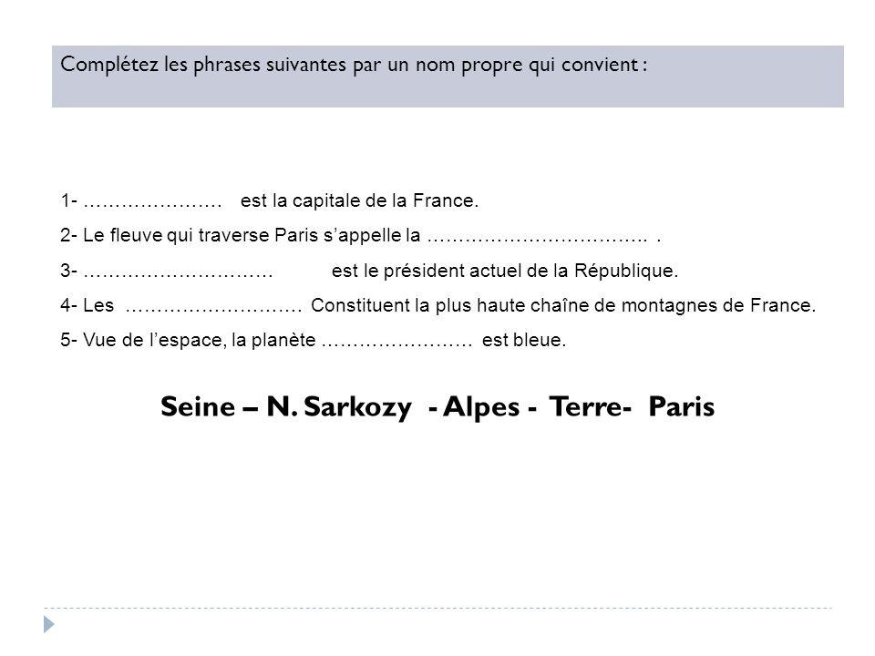 Complétez les phrases suivantes par un nom propre qui convient : 1- …………………. est la capitale de la France. 2- Le fleuve qui traverse Paris sappelle la