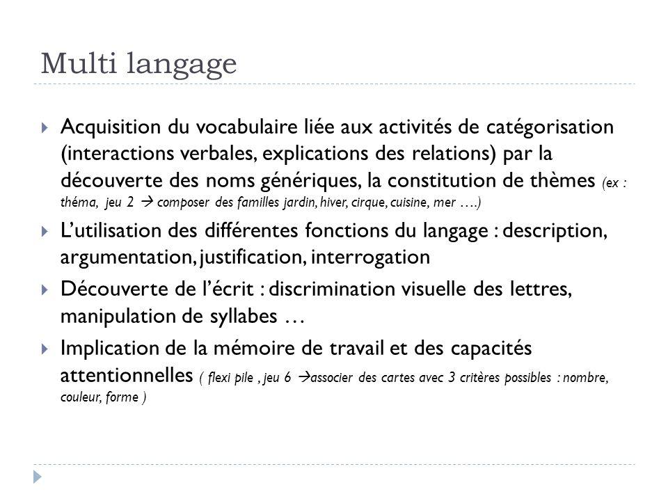 Multi langage Acquisition du vocabulaire liée aux activités de catégorisation (interactions verbales, explications des relations) par la découverte de