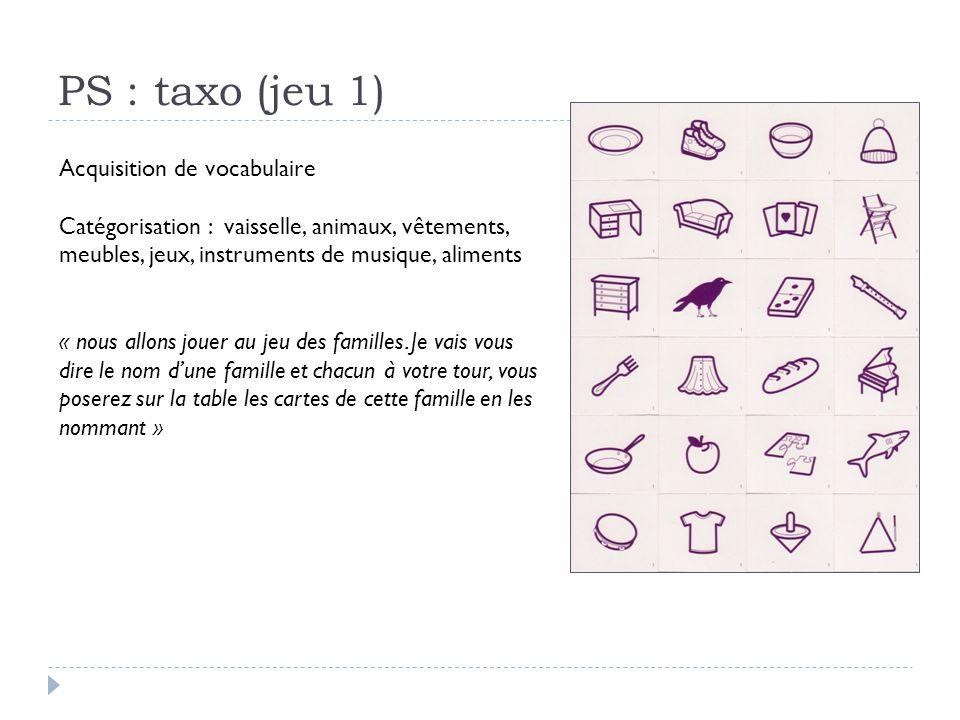 PS : taxo (jeu 1) Acquisition de vocabulaire Catégorisation : vaisselle, animaux, vêtements, meubles, jeux, instruments de musique, aliments « nous al