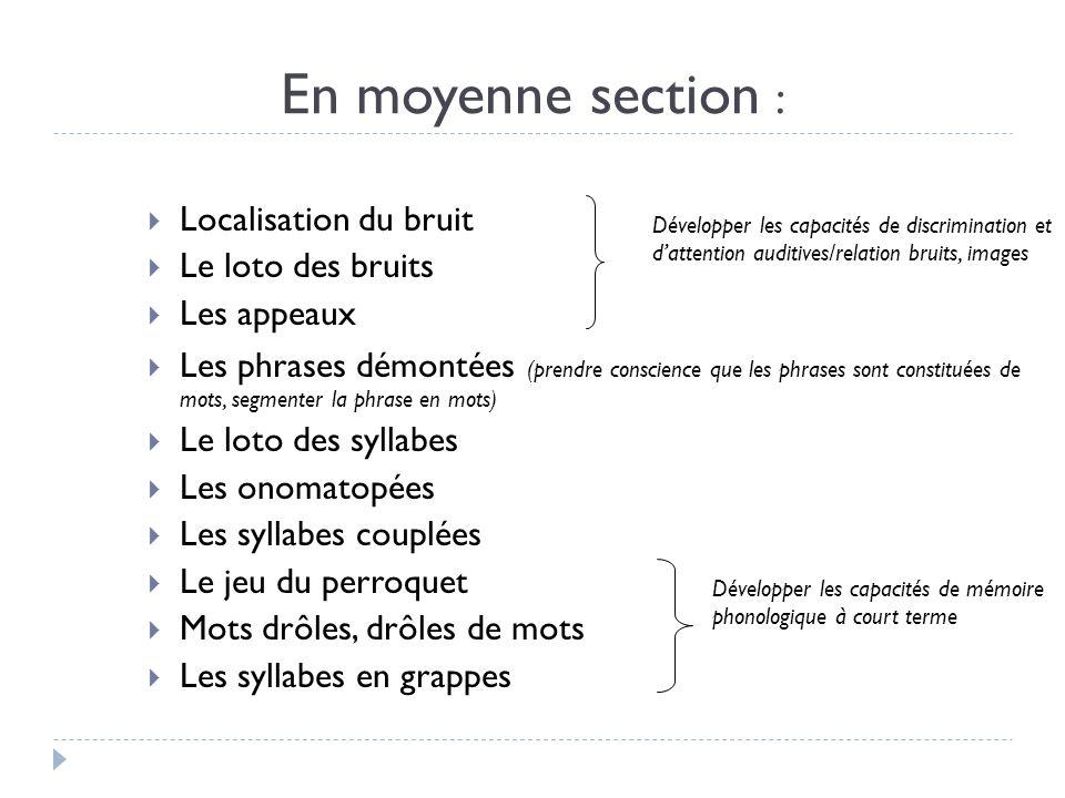 En moyenne section : Localisation du bruit Le loto des bruits Les appeaux Les phrases démontées (prendre conscience que les phrases sont constituées d