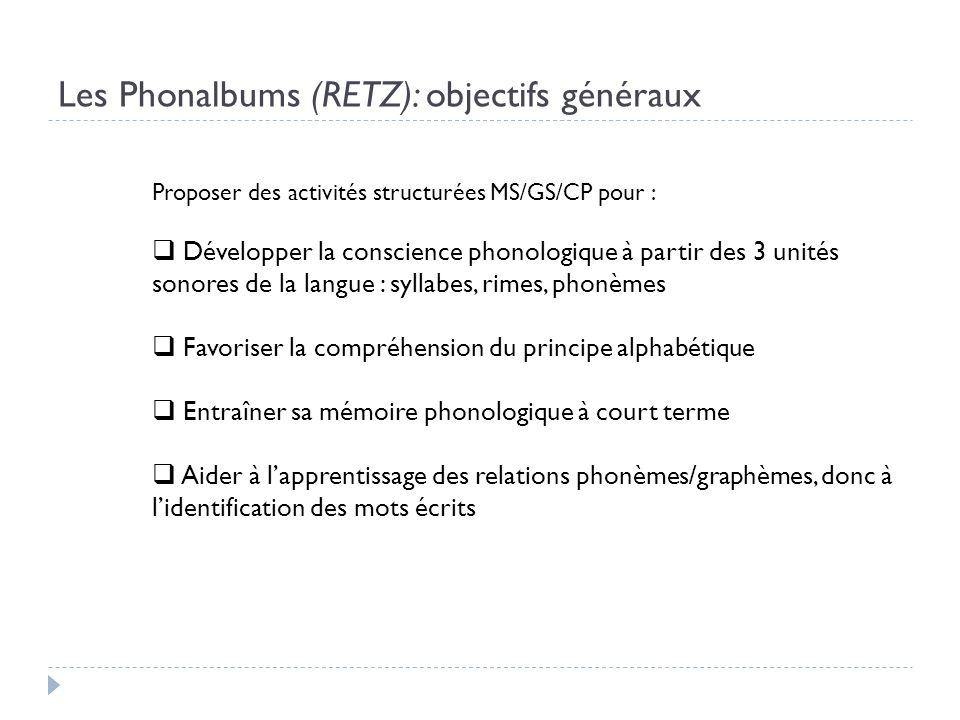 Les Phonalbums (RETZ): objectifs généraux Proposer des activités structurées MS/GS/CP pour : Développer la conscience phonologique à partir des 3 unit