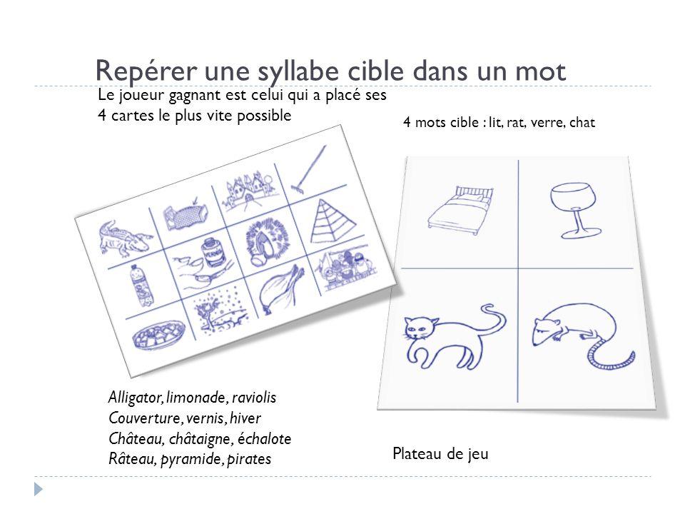 Repérer une syllabe cible dans un mot Plateau de jeu 4 mots cible : lit, rat, verre, chat Le joueur gagnant est celui qui a placé ses 4 cartes le plus