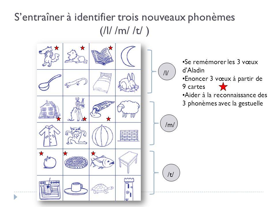 Sentraîner à identifier trois nouveaux phonèmes (/l/ /m/ /t/ ) /l/ /m/ /t/ Se remémorer les 3 vœux dAladin Enoncer 3 vœux à partir de 9 cartes Aider à