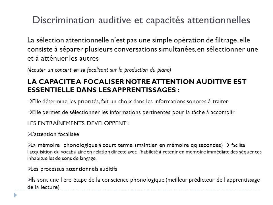 Discrimination auditive et capacités attentionnelles La sélection attentionnelle nest pas une simple opération de filtrage, elle consiste à séparer pl