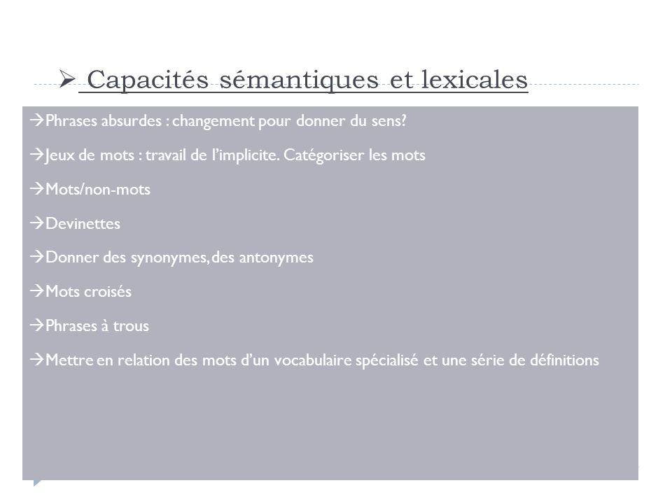 Capacités sémantiques et lexicales Phrases absurdes : changement pour donner du sens? Jeux de mots : travail de limplicite. Catégoriser les mots Mots/
