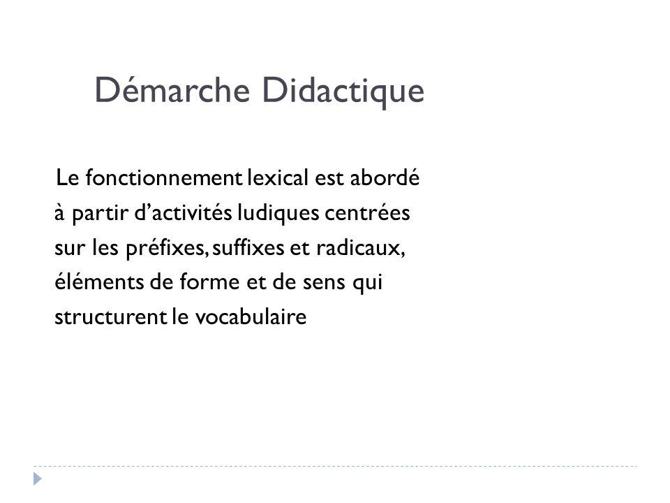 Démarche Didactique Le fonctionnement lexical est abordé à partir dactivités ludiques centrées sur les préfixes, suffixes et radicaux, éléments de for