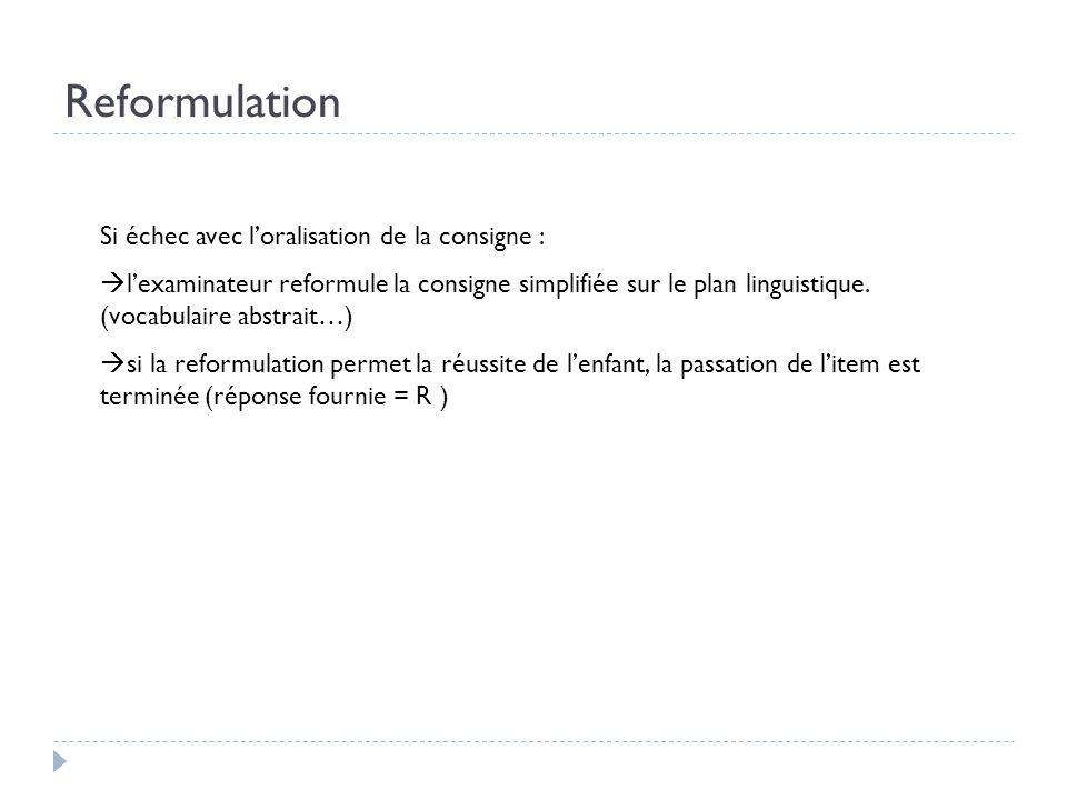Reformulation Si échec avec loralisation de la consigne : lexaminateur reformule la consigne simplifiée sur le plan linguistique. (vocabulaire abstrai