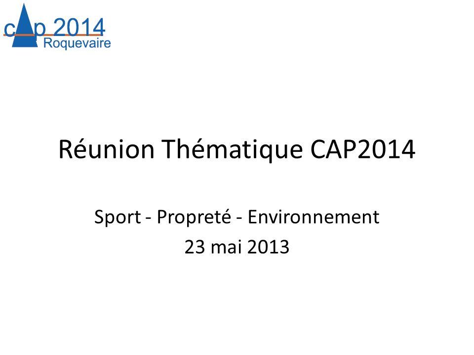 Réunion Thématique CAP2014 Sport - Propreté - Environnement 23 mai 2013
