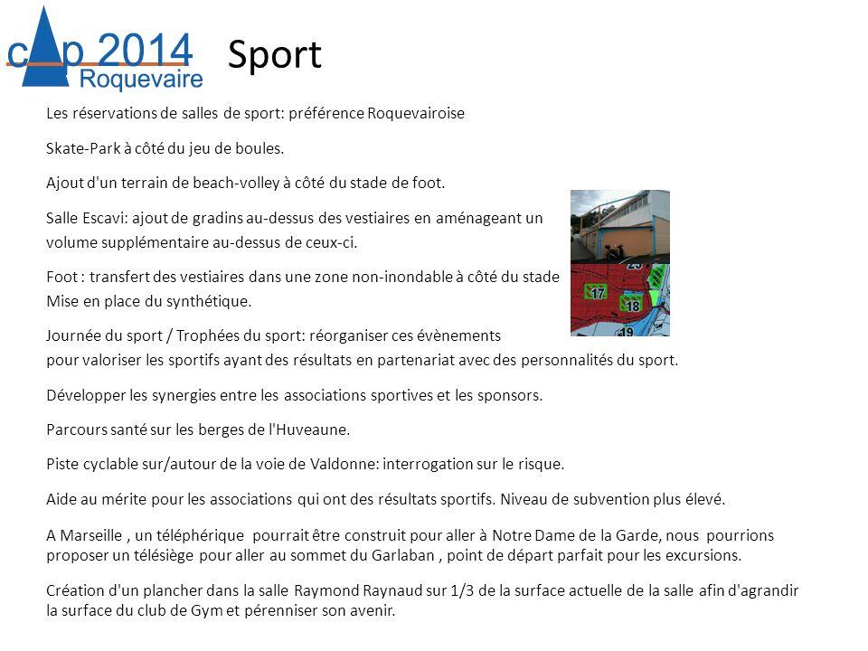 Sport Les réservations de salles de sport: préférence Roquevairoise Skate-Park à côté du jeu de boules. Ajout d'un terrain de beach-volley à côté du s