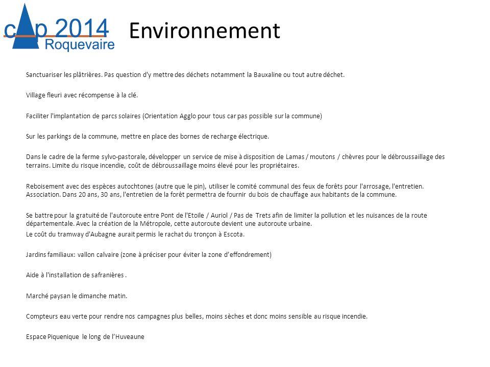 Environnement Sanctuariser les plâtrières. Pas question d'y mettre des déchets notamment la Bauxaline ou tout autre déchet. Village fleuri avec récomp