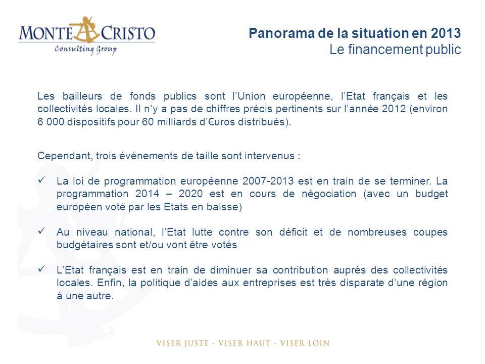 Panorama de la situation en 2013 Le financement public Les bailleurs de fonds publics sont lUnion européenne, lEtat français et les collectivités locales.