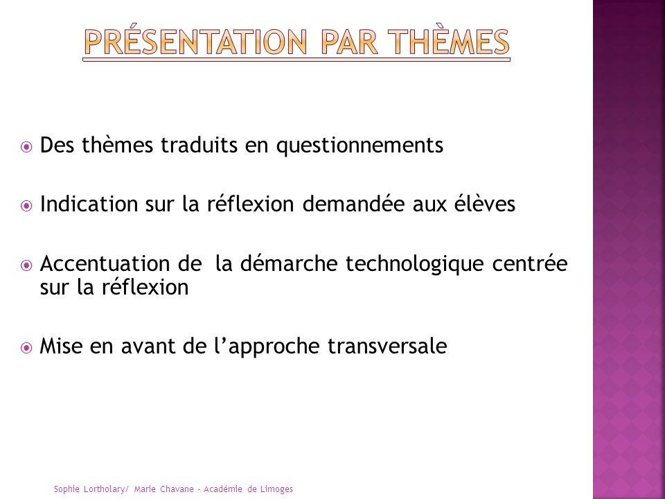 Des thèmes traduits en questionnements Indication sur la réflexion demandée aux élèves Accentuation de la démarche technologique centrée sur la réflex
