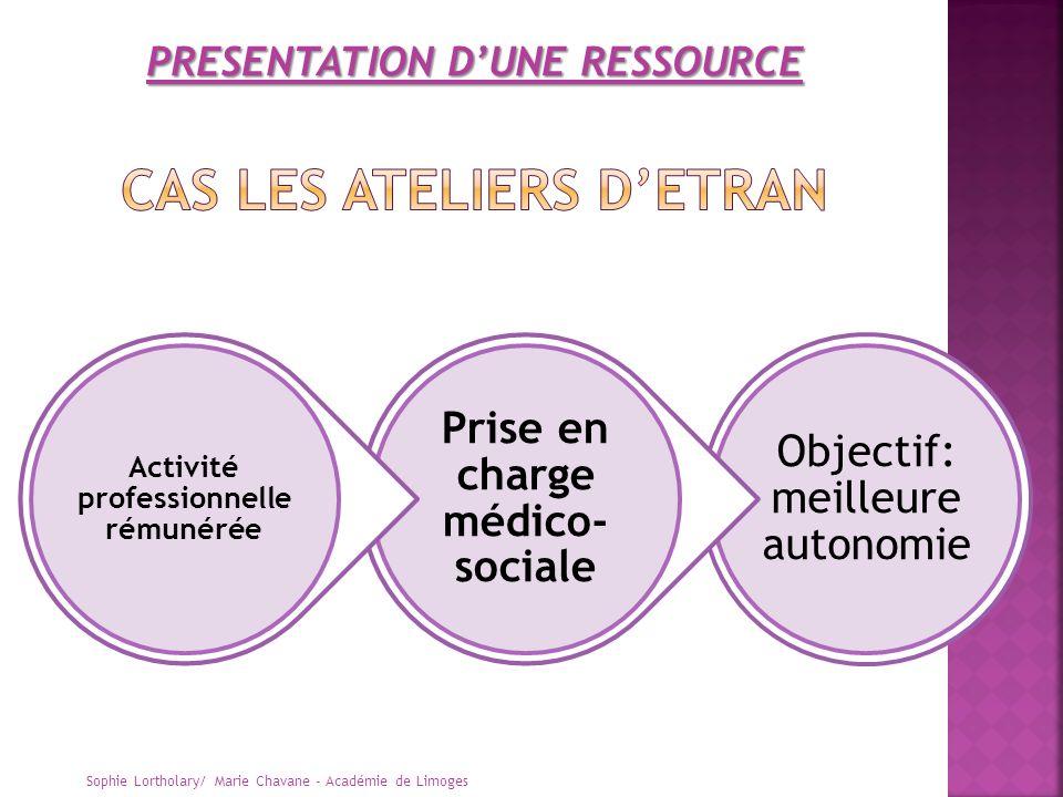 Sophie Lortholary/ Marie Chavane - Académie de Limoges Objectif: meilleure autonomie Prise en charge médico- sociale Activité professionnelle rémunéré