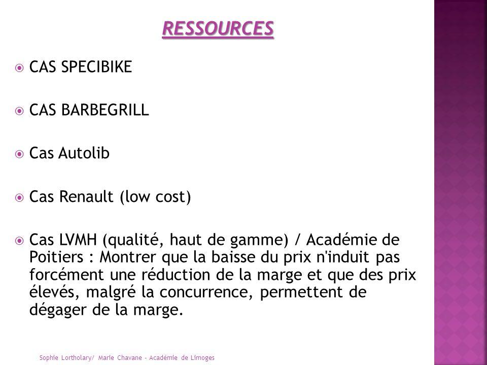 CAS SPECIBIKE CAS BARBEGRILL Cas Autolib Cas Renault (low cost) Cas LVMH (qualité, haut de gamme) / Académie de Poitiers : Montrer que la baisse du pr
