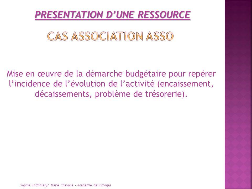 Sophie Lortholary/ Marie Chavane - Académie de Limoges Mise en œuvre de la démarche budgétaire pour repérer lincidence de lévolution de lactivité (enc