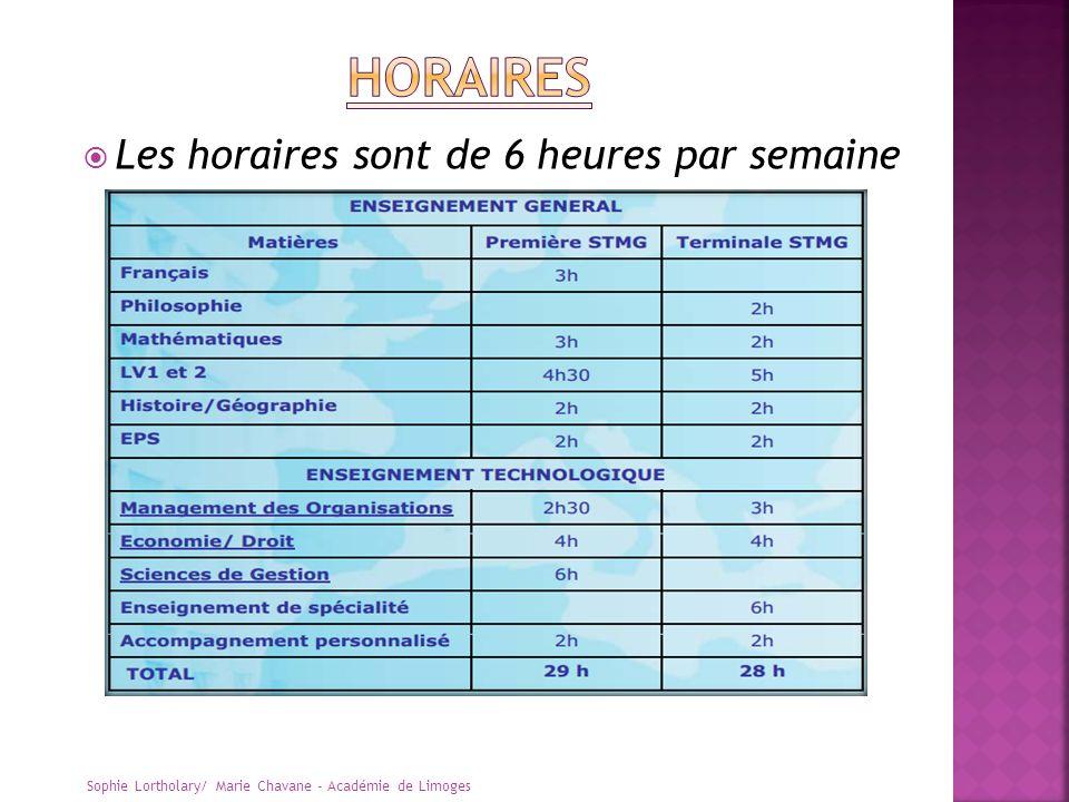 Les horaires sont de 6 heures par semaine Sophie Lortholary/ Marie Chavane - Académie de Limoges