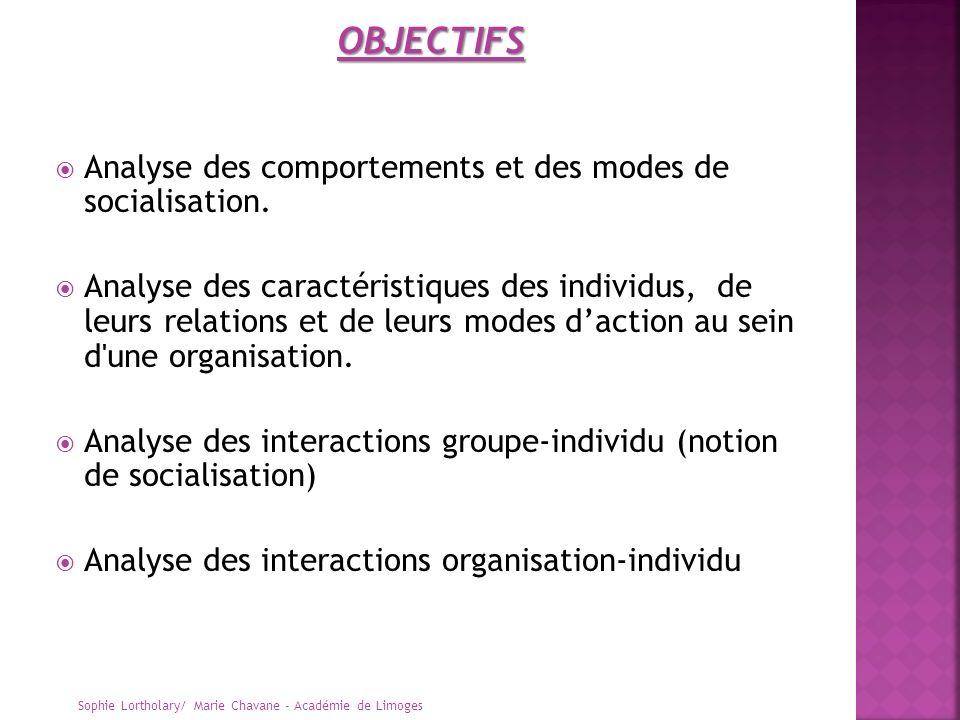 Analyse des comportements et des modes de socialisation. Analyse des caractéristiques des individus, de leurs relations et de leurs modes daction au s