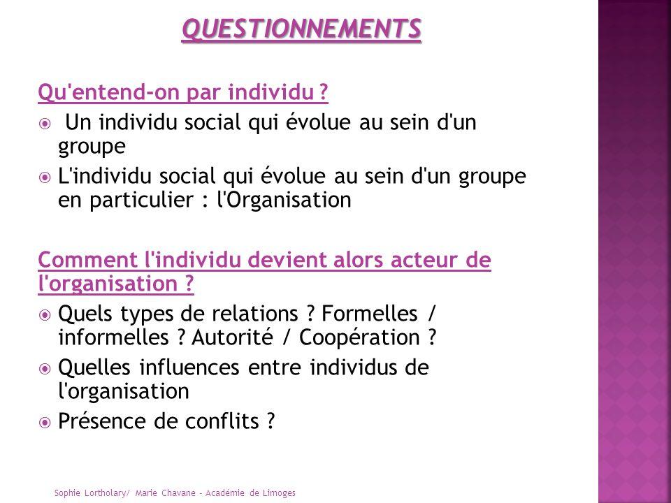 Qu'entend-on par individu ? Un individu social qui évolue au sein d'un groupe L'individu social qui évolue au sein d'un groupe en particulier : l'Orga