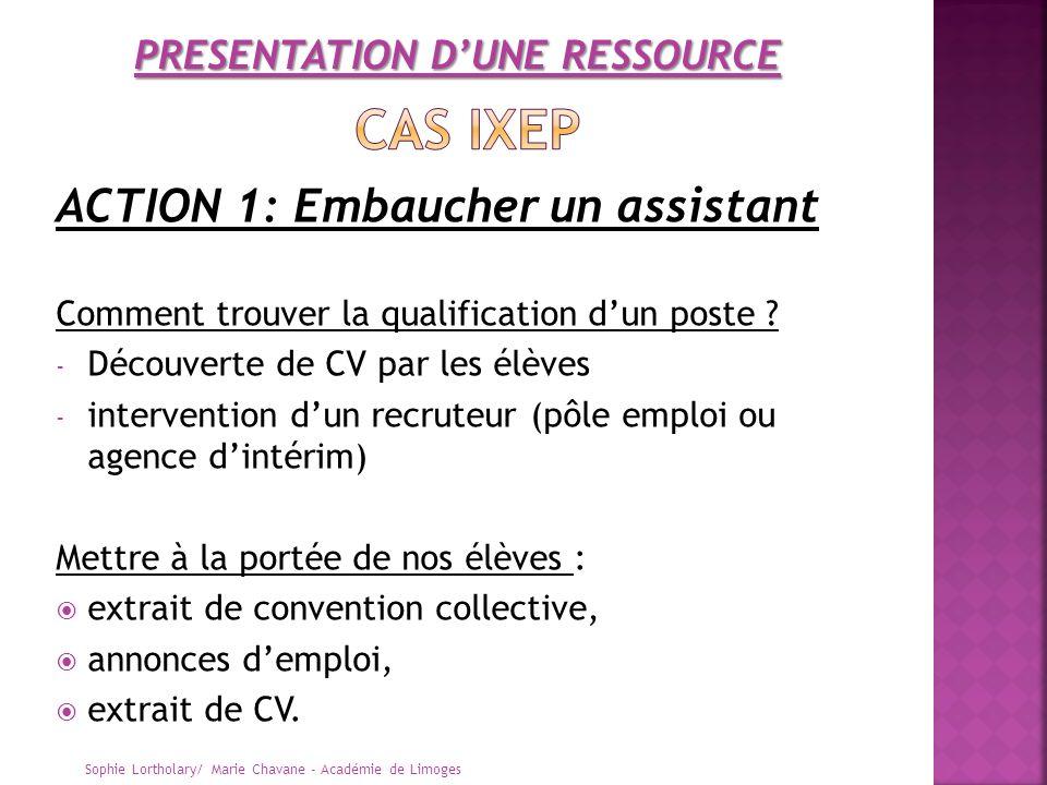 ACTION 1: Embaucher un assistant Comment trouver la qualification dun poste ? - Découverte de CV par les élèves - intervention dun recruteur (pôle emp